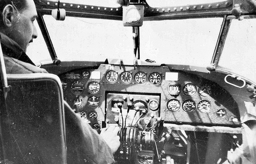 """""""In the cockpit of Lockheed Hudsons - 2"""" image by Flickr user John Roberts"""