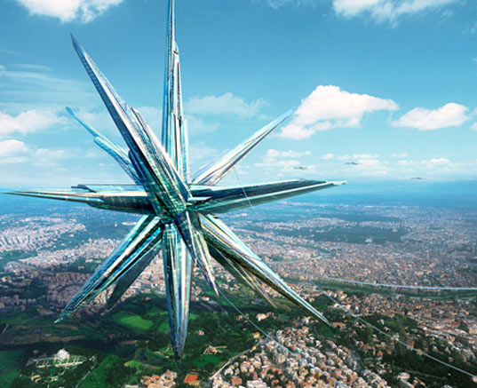 """The Superstar self-sustaining city of the future"" image via Inhabitat"
